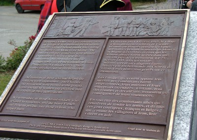 The Bronze Plaque of the memorial in Iron