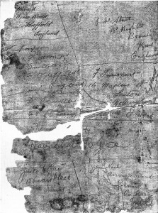 A copy of the piece of paper with soldiers' details found in a bottle buried at Iron. Click on the image for Messrs, Stent, Innocent, Howard and Thompson details.