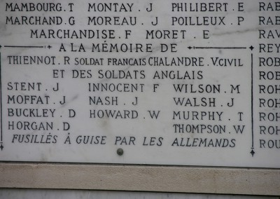 Inscriptions on the Guise World War 1 Memorial