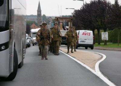 Enactors Marching Towards Etreux Military Cemetery