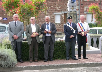 M. Chalandre's Great Grandsons (pictured centre) at the Monument in Iron