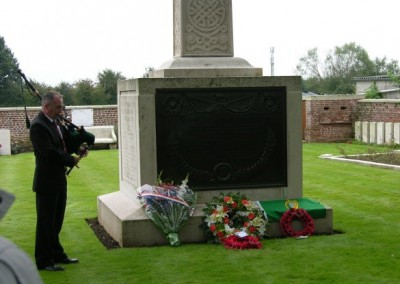 Piper at the Etreux Military Cemetery, 'The Orchard' Where the Royal Munster Fusiliers Surrendered